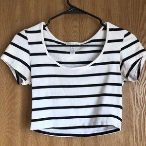 Black & White Striped Crop Top